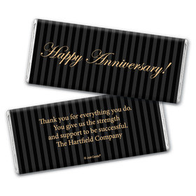 Pinstripe Anniversary Personalized Candy Bar - Wrapper Only