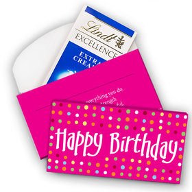 Deluxe Personalized Birthday Polka Dot Lindt Chocolate Bar in Gift Box (3.5oz)