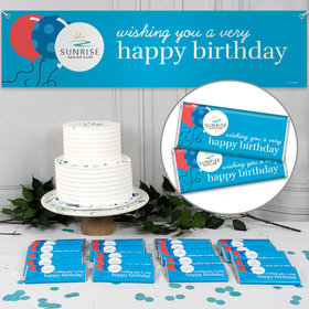 Custom Business Birthday Banner & 24 Bars - Add Your Logo Balloons