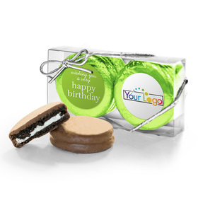 Personalized Happy Birthday Add Your Logo 2Pk Belgian Chocolate Covered Oreo Cookies