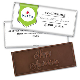 Personalized Embossed Chocolate Bar & Wrapper - Corporate Anniversary Add Your Logo Celebration