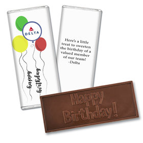 Personalized Embossed Chocolate Bar & Wrapper - Birthday Add Your Logo Balloon Strings