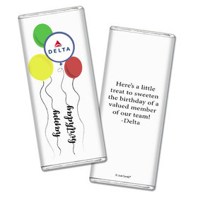 Personalized Chocolate Bar & Wrapper - Birthday Add Your Logo Balloon Strings