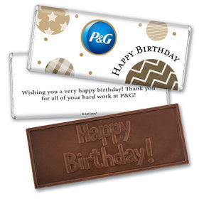 Personalized Embossed Chocolate Bar & Wrapper - Birthday Add Your Logo Circles