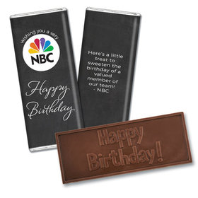 Personalized Embossed Chocolate Bar & Wrapper - Birthday Add Your Logo Script
