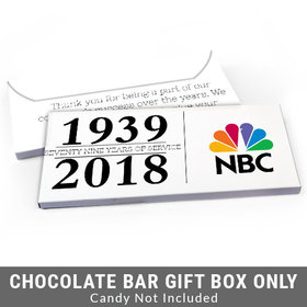Deluxe Personalized Span of Years Corporate Anniversary Candy Bar Favor Box