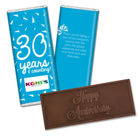 Personalized Embossed Chocolate Bar & Wrapper - Anniversary Add Your Logo Confetti