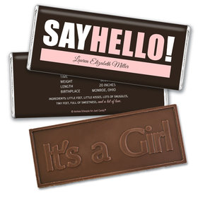 Personalized Say Hello! Baby Girl Birth Announcement Hershey's Embossed Chocolate Bar & Wrapper