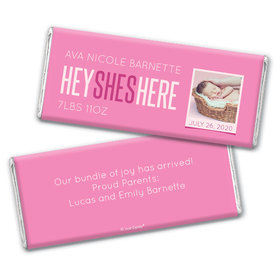 Personalized She's Here! Baby Girl Birth Announcement Hershey's Chocolate Bar & Wrapper