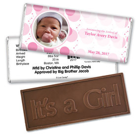 Hey Baby PinkEmbossed It's a Girl Bar Personalized Embossed Chocolate Bar Assembled