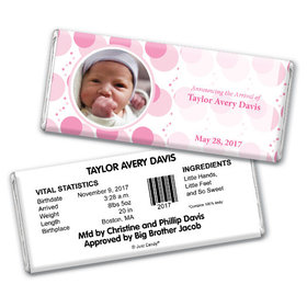 Baby Girl Announcement Personalized Chocolate Bar Monogram Polka Dot Photo