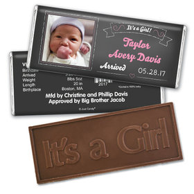 Simple & SweetEmbossed It's a Girl Bar Personalized Embossed Chocolate Bar Assembled