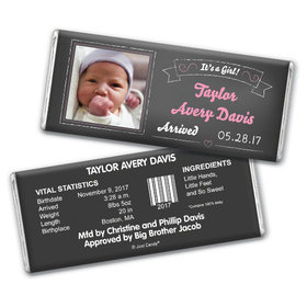 Baby Girl Announcement Personalized Chocolate Bar Chalkboard Photo