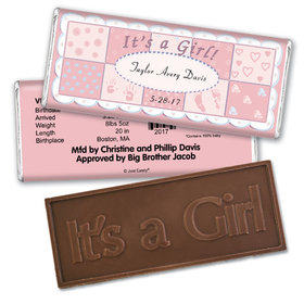 Baby Girl Announcement Personalized Embossed Chocolate Bar It's a Girl Quilt