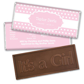 Baby Girl Announcement Personalized Embossed Chocolate Bar Tiny Dots