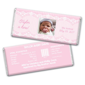 Baby Girl Announcement Personalized Chocolate Bar Pinstripes and Lace Photo