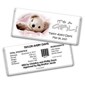 Baby Girl Announcement Personalized Chocolate Bar It's a Girl! Teddy Bear