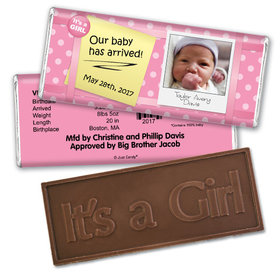 Baby Girl Announcement Personalized Embossed Chocolate Bar She's Arrived Polka Dots Photo