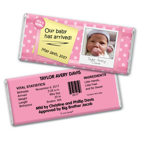 Baby Girl Announcement Personalized Chocolate Bar She's Arrived Polka Dots Photo