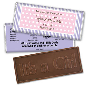 Pretty Polka DotsEmbossed It's a Girl Bar Personalized Embossed Chocolate Bar Assembled
