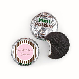 Baby Girl Announcement Personalized Pearson's Mint Patties Dots & Pinstripes