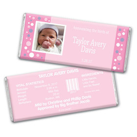 Personalized Girl Baby Announcements Chocolate Bar & Wrapper