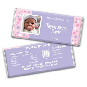 Personalized Photo Bubbles Baby Girl Birth Announcement Hershey's Chocolate Bar Wrappers