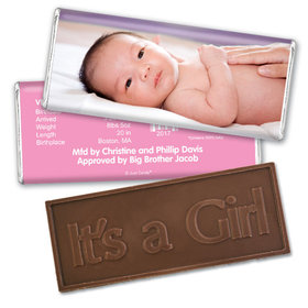 Baby Girl Announcement Personalized Embossed Chocolate Bar Full Photo