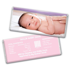 Baby Girl Announcement Personalized Chocolate Bar Full Photo