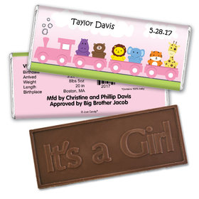 Baby Girl Announcement Personalized Embossed Chocolate Bar Her Zoo Train Safari Animals