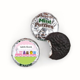 Baby Girl Announcement Personalized Pearson's Mint Patties Her Zoo Train Safari Animals
