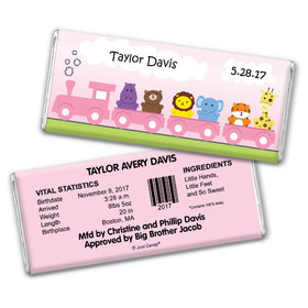 Baby Girl Announcement Personalized Chocolate Bar Her Zoo Train Safari Animals