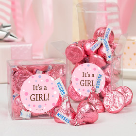 Baby Girl Bubbles Birth Announcement Clear Gift Box