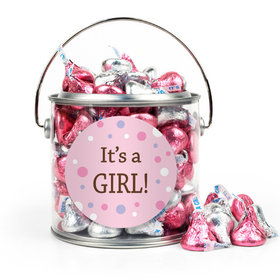 Baby Girl Bubbles Birth Announcement Paint Can with Sticker