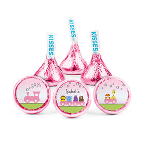 Personalized Girl Birth Announcement Choo Choo Hershey's Kisses (50 pack)