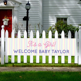 Personalized Girl Baby Announcement It's a Girl Stripes 5 Ft. Banner