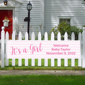 Personalized Girl Baby Announcement It's a Girl Chevron 5 Ft. Banner