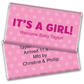 Personalized Polka Dots Baby Girl Announcement Giant 5lb Hershey's Chocolate Bar