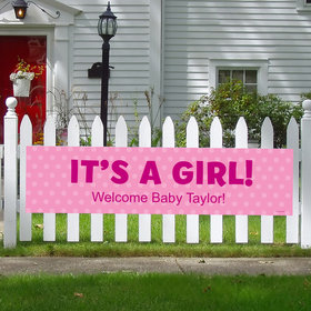 Personalized Girl Baby Announcement Polka Dots 5 Ft. Banner