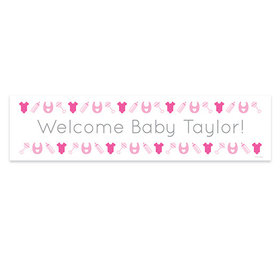Personalized Girl Baby Announcement Welcome Banner