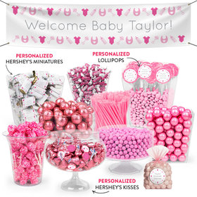 Personalized Girl Birth Announcement Welcome Deluxe Candy Buffet