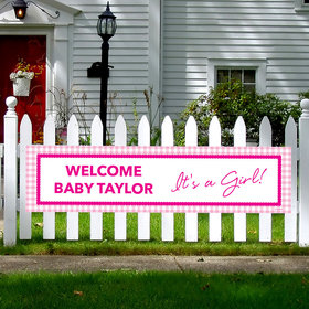 Personalized Girl Baby Announcement Checker Pattern 5 Ft. Banner
