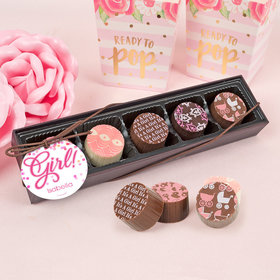 Personalized Girl Birth Announcement Bubbles Gourmet Chocolate Truffle Gift Box (5 Truffles)