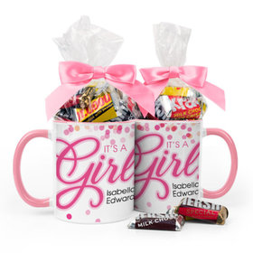 Personalized Baby Girl Announcement It's a Girl Bubbles 11oz Mug with Hershey's Miniatures