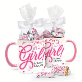 Personalized Baby Girl Announcement Bubbles 11oz Mug with Hershey's Miniatures