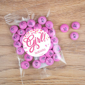 Personalized Girl Birth Announcement Candy Bag with JC Chocolate Minis - It's a Girl Bubbles