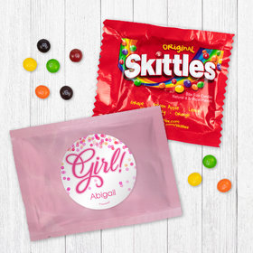 Personalized Girl Birth Announcement It's a Girl Bubbles - Skittles