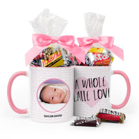 Personalized Baby Girl Announcement Latte Love 11oz Mug with Hershey's Miniatures