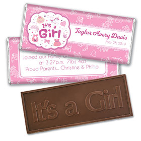 Personalized Girl Birth Announcement Bundle of Joy Embossed Chocolate Bar & Wrapper