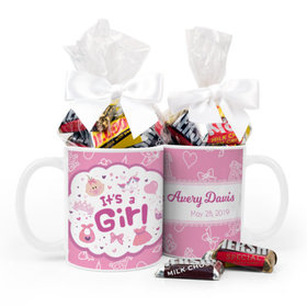 Personalized Birth Annoucement Its A Girl Bundle of Joy 11oz Mug with Hershey's Kisses